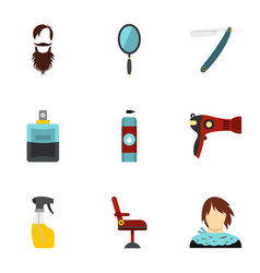 Hairdresser icons set flat style vector
