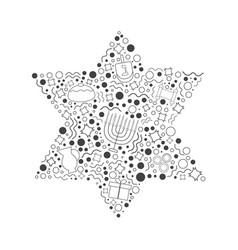 Hanukkah holiday flat design black thin line vector