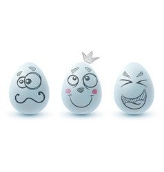 happy easter three egg on white background vector image