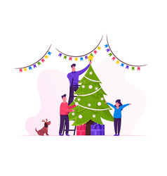 Happy family decorate christmas tree father put vector