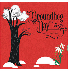 happy groundhog day design with cloud on tree and vector image