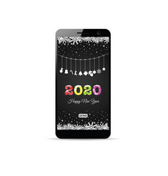 Happy new year 2020 on smartphone vector