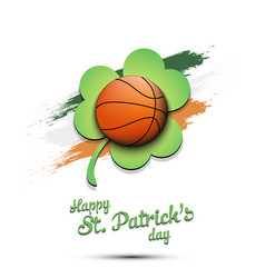 Happy st patricks day and basketball ball vector
