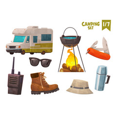 house on wheels thermos bottle hiking boot walkie vector image