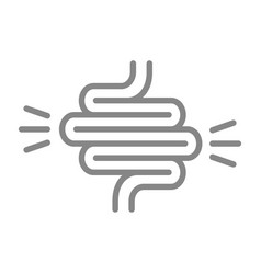 Intestine with acute pain line icon ulcerative vector