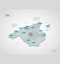 Isometric spain map with city names and vector