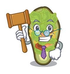 Judge stuffed avocado in mascot shape vector