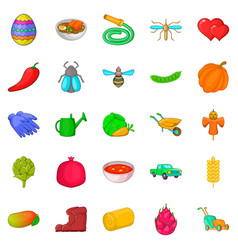 Large scale farming icons set cartoon style vector