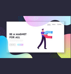 magnetism and attraction website landing page man vector image