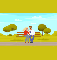 man and woman sitting on bench outdoors couple in vector image