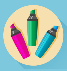Multicolored highlighters icon vector