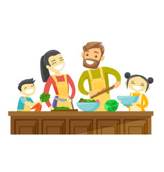 multiracial family with kids cooking together vector image