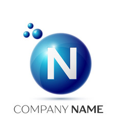 n letter splash logo blue dots and circle bubble vector image