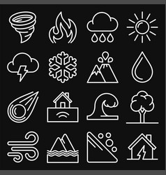 natural disaster icons set on black background vector image