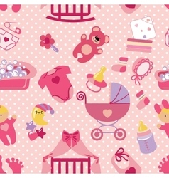 Newborn Baby girl seamless patternPolka dot vector image