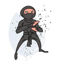 ninja cartoon hand drawn image vector image