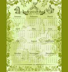 Olives olive oil calendar 2018 template vector