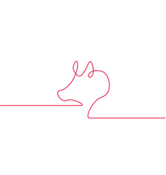 One line design silhouette of pig minimalistic vector