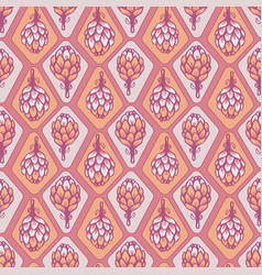 pink orange artichoke flower seamless vector image