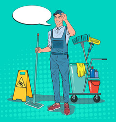 Pop art cleaner in uniform with mop cleaning vector