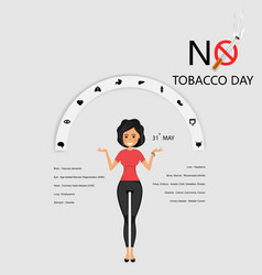 Pretty woman and quit tobacco logo design vector