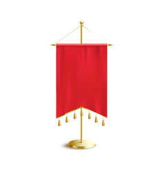 red medieval pennant banner with pointed double vector image
