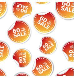 sale 60 percent off sticker seamless pattern vector image