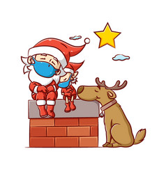 Santa clause and elf with big dog using vector