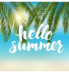Say hello to summer - card with hand drawn brush vector image vector image