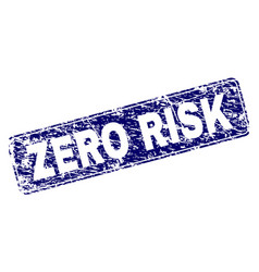 Scratched zero risk framed rounded rectangle stamp vector