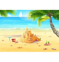 Sea shore with palm trees vector