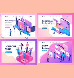 Set isometric website bright concept vector