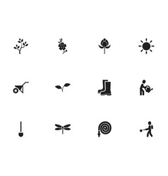 Set of 12 editable gardening icons includes vector