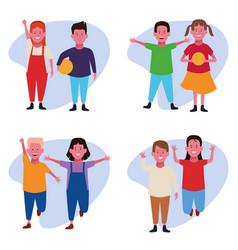 set of children having fun vector image
