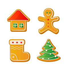 set of cute gingerbread cookies for christmas vector image