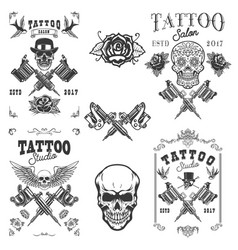 Set tattoo studio emblems design elements vector