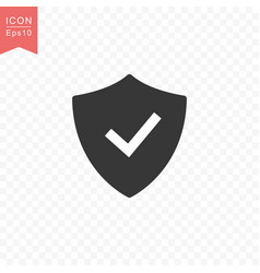 shield with check mark icon simple flat style vector image