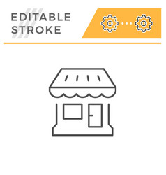 shop editable stroke line icon vector image