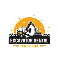 Skid steer and excavator rental logo vector