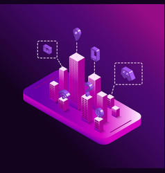 smart technological city in your smartphone vector image