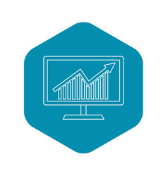statistics on monitor icon outline style vector image