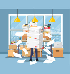 Stressed businessman holds pile papers vector