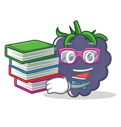 Student with book blackberry character cartoon vector