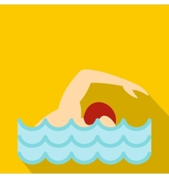 Swimmer crawling in pool icon flat style vector