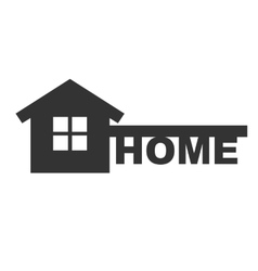 Symbol of home like key and text - home vector