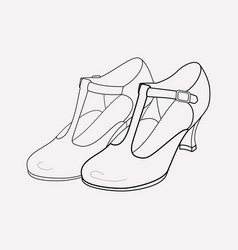 t-strap shoes icon line element vector image