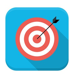 Target with arrow flat app icon with long shadow vector image