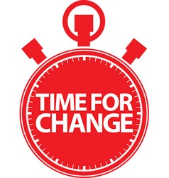 Time for change stopwatch red icon vector image
