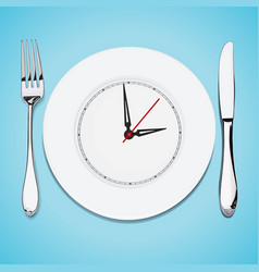 Time lunch cutlery dish knife and fork vector