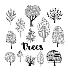 trees set hand drawn collection of doodle trees vector image